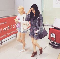 July 2015 SNSD Girls Generation GG Airport Fashion Style Soshistyle casual summer taeyeon and Tiffany