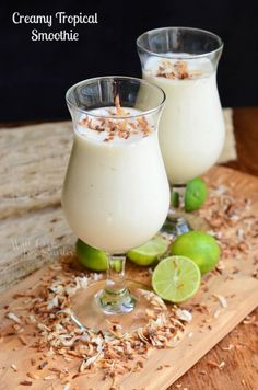 Creamy Tropical Smoothie. This smoothie is made with coconut milk, banana, key lime and pineapple yogurt. | from willcookforsmiles.com