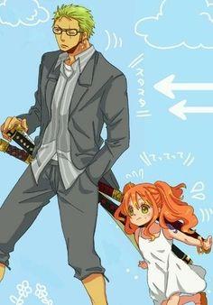 Chibi Nami with Zoro Zoro One Piece, One Piece Ship, One Piece Fanart, One Piece Manga, Roronoa Zoro, Zoro Nami, Anime Chibi, Manga Anime, Nami Swan