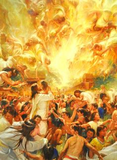 *3 Nephi :17- 24,25 Book of Mormon  and the angels ministred to the children llike unto fire surounding them...........