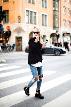 Layered shirts and sweaters over distressed jeans with Jeffrey Campbell Coltranes