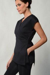 Bella - Black Spa Uniform Top