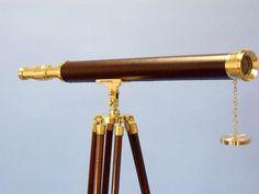 "Floor Standing Solid Brass - Leather Harbor Master Telescope 60"""