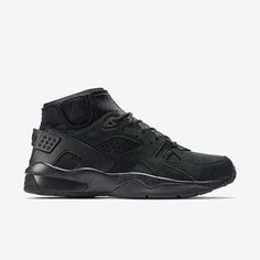 8d72a7ba6472 Mid-top sneaker with leather upper and neoprene sock-lining. All black with  speckled sole.