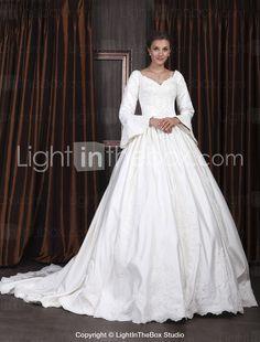 LONG SLEEVE WEDDING DRESSES | Ball Gown V-neck Long Sleeve Satin Luxury Wedding Dress With Beaded ...