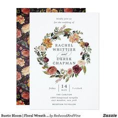 Shop Rustic Bloom Floral Fall Wedding Invitation created by lovelywow. Personalize it with photos & text or purchase as is! Elegant Wedding Invitations, Elegant Invitations, Floral Invitation, Invitation Ideas, Wedding Stationery, Wedding Details, Wedding Ideas, Wedding Pins, Wedding Trends