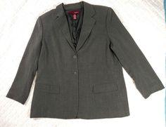 Merona Blazer Jacket 2 Button Gray Women Size 20W Career Attire Lined #Merona #Blazer