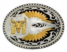 Corbeto's Boots | 56-61214-447M | Hebilla Montana Silversmiths chapada plata y oro calavera búfalo | Montana Silversmiths silver and gold plated buckle with gold buffalo skull