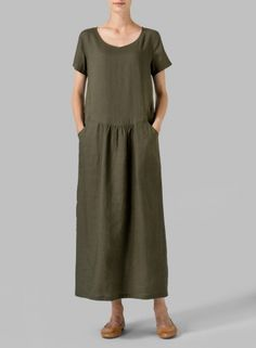 VIVID LINEN - Linen Short Sleeve Dress - An easy-going style statement you will want to wear time and time again !