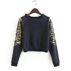 Новое поступление женщин вышивка рукав короткий дизайн вязаный свитер пуловер свитер купить на AliExpress
