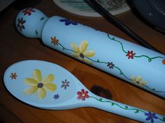 Flowery Blue Wooden Spoon and Rolling Pin | by Heather Sprinkles - I just want to remember the idea of painting wooden spoons and rolling pins as decoratives - inspiration only - #decorative #painting #woodenspoon #primitive styles would especially suit, IMO - tå√