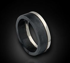 The Tuxedo Ring--Modern Urban Wedding Band in Black and White--14K White Gold with Black Silver Men's Band- High Fashion Jewelry by blazerarts on Etsy https://www.etsy.com/listing/45662304/the-tuxedo-ring-modern-urban-wedding