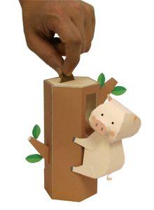 Automata Climbing Piggy Bank Paper Model
