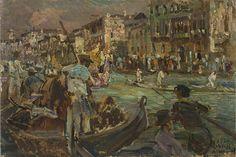 Alessandro Milesi (1856-1945) - Venezia. Canale con Gondole, 1926