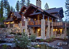 Log Cabin with Stone {Sugar Bowl Residence} | Whitefish, Montana
