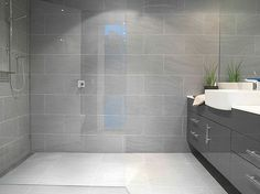 Pop of green in a gray bathroom.  Your dream home starts here.  Edmonton home builders http://michaelhomesinc.ca