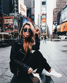 leather jacket outfit | white shoes | sneakers | women's mirrored sunglasses