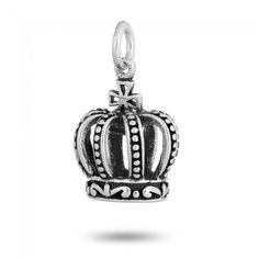 Antique Crown Charm in Sterling Silver (16 x 15 x 13mm)