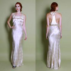 Reserved...30s Ivory Polka Dot Silk Satin WEDDING GOWN / Bias Cut Harlow DRESS, s - m