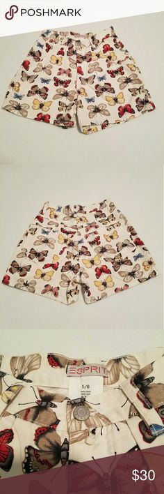 90s butterfly shorts 90s high waisted butterfly shorts. Perfect with crop tops for summer. Size 5/6, but fits like a small/xsmall in my opinion. Please see measurements   Has a few tiny stains that are not noticeable when worn.   No trades please  Will consider reasonable offers Esprit Shorts Jean Shorts