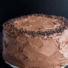 (2 LAYER CAKE) Simple Chocolate Birthday Cake with Whipped Chocolate Buttercream.