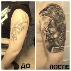 Tattoo Airat Taturin - tattoo's photo In the style Cover-up, Black and grey, Male, Injuns, Rav Tattoo Photos, Raven, Black And Grey, Cover Up, Portrait, Tattoos, Style, Swag, Tatuajes
