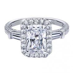 Emerald shaped halo with baguette diamond sides. Gabriel&Co. ER9385W44JJ