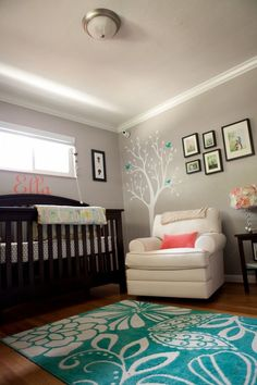 Nursery- Dark furniture with white   accents- and pull it together with espresso frames and white   mats