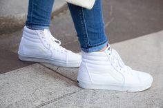 Vans White Sk8-Hi Sneakers