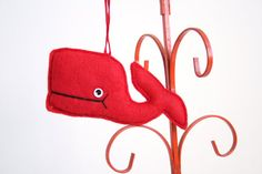 Vintage Christmas Ornament Red Felt Whale by nbdg on Etsy