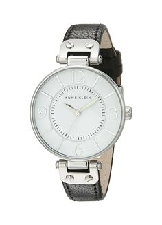 Anne Klein Women's 109169WTBK Silver-Tone and Black Leather Strap Watch * Continue to the watch at the image link.