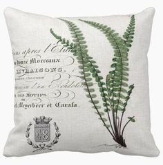 Pillow Cover New French Fern Botanical by JolieMarche on Etsy Burlap Pillows, Throw Pillows, Cushion Covers, Pillow Covers, Cover Wallpaper, Botanical Decor, Fabric Animals, Expo, Decoration