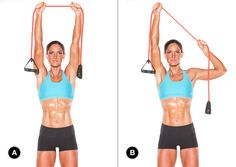 Lat pulldown: Do three sets of 15 reps (each side). Target Muscles: latissimus dorsi Lat pulldown: Do three sets of 15 reps (each side). Fitness Tips, Fitness Motivation, Sport Motivation, Fitness Quotes, Oxygen Magazine, Strong Back, Yoga Pilates, Getting Back In Shape, Resistance Band Exercises