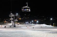 Night skiing at Perisher snow ski resort in New South Wales, Australia