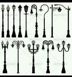 Lamp post designs. Love the ones in the bottom row the best. Wish local big-box stores would carry more of these styles!!!