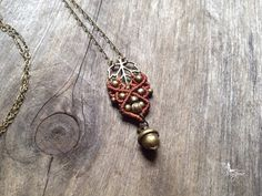 Micro macrame necklace pendant leaf with acorn elven macrame pendant necklace custom order boho jewelry gypsy pixie