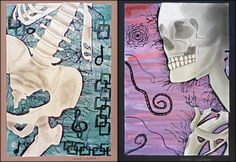 Drawings of Skeletons cut out and pasted over watercolor backgrounds- studied Los Dias De Los Muertos