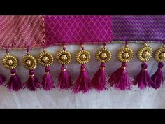 How to make beautiful saree kuchu / saree tassels - easy method - YouTub Saree Kuchu New Designs, Saree Jacket Designs, Chudi Neck Designs, Saree Tassels Designs, Kids Blouse Designs, Wedding Saree Blouse Designs, Hand Work Blouse Design, Silk Saree Blouse Designs, Designs For Dresses
