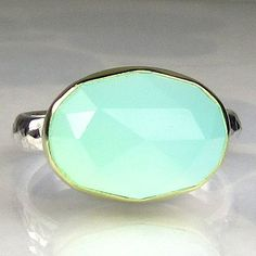 Sea Green Chalcedony Ring (Rose Cut, 18k Gold and Sterling) by Janish Jewels $156.00
