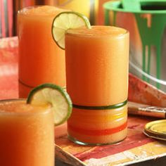 Frozen Screwdriver: 1/2 can Fuzzy Navel Frozen BACARDI® Mixers , 8 oz Minute Maid® Orange Juice, 1/2 cup Bacardi® Rum, 5 cups ice, oranges for garnish.