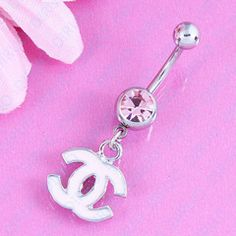Dangle Letter Belly Button Ring  316L Stainless Steel