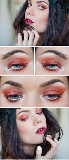 Red eye makeup with white eye liner.