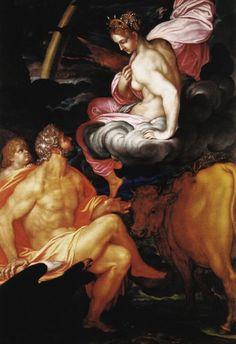 Giovanni Ambrogio Figino (1553 - 1608): Júpiter hace entrega a Juno de Ío transformada en ternera en señal de paz (Giove cede a Giunone Io trasformata in giovenca in simbolo di pace, 1599).