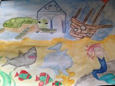 Underwater city by Underwater City, 7 Year Olds, Painting, Art, Art Background, City Under The Sea, Painting Art, Kunst, Paintings