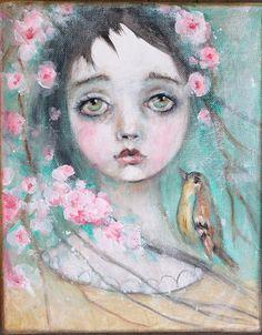 original girl child bird portrait floral primitive by fadedwest, a little birdie told me....