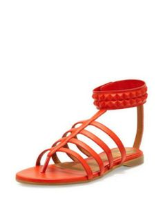 FENDI Studded Leather Cage Sandal