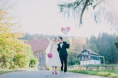 Herzballons bei einer Hochzeit voller Inspirationen auf dem Einödhof Waldeck im Bayerischen Wald