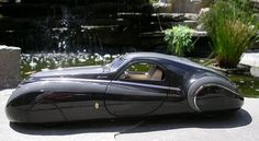 """Just A Car Guy: the 1939 Duesenberg Coupe Simone Midnight Ghost, completely a """"might have been"""" with a made up back story, and the Franklin Mint bought it hook, line, and sinker. Vintage Bikes, Vintage Cars, Art Deco Car, Rockabilly Cars, Classy Cars, Cute Cars, Electric Cars, Amazing Cars, Exotic Cars"""