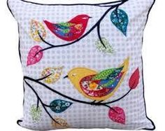 Green Floral embroidered cushions cotton pillow pompom by VLiving Applique Cushions, Patchwork Cushion, Embroidered Cushions, Sewing Pillows, Quilted Pillow, Patchwork Quilting, Bird Applique, Wool Applique, Applique Patterns