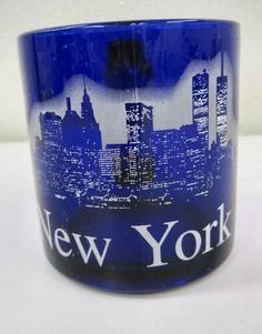 New York City Skyline Twin Towers Coffee Tea Mug Cup Souvenir Cobalt Blue White | eBay